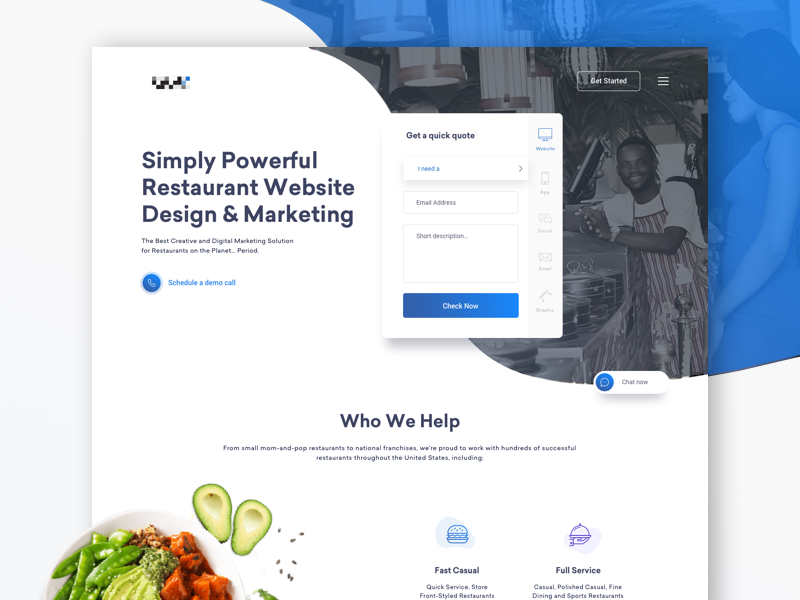 Restaurant oriented marketing agency landing page photo iconography cta minimal site web website app page landing delivery food