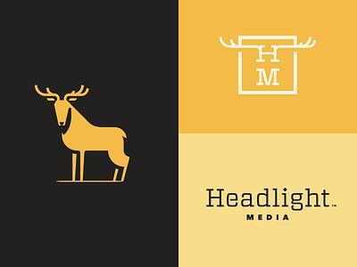Headlight Media deer logo branding deer in the headlights
