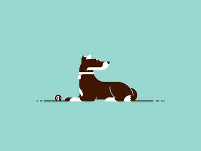 Roscoe dog illustration ball