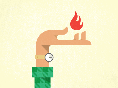 Playing With Fire illustration wildfire fire hand plaid watch