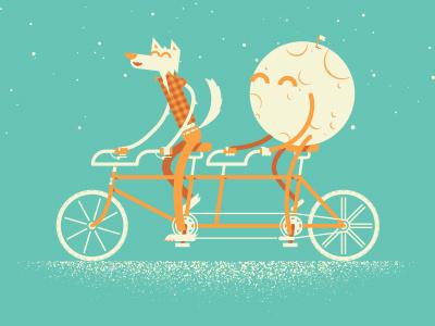 ARTCRANK San Francisco artcrank bike biking tandem bike illustration werewolf moon