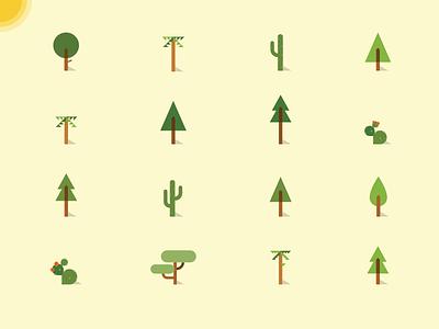 Trees illustration trees forest cactus foliage sun