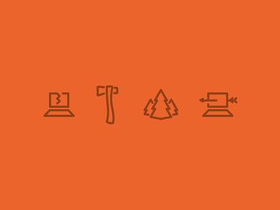 Hackathon Icons icons outdoors laptop trees arrows hackathon hatchet