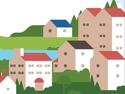 Village illustration illustration hillside bushes nature river trees house buildings flat hills neighborhood town village