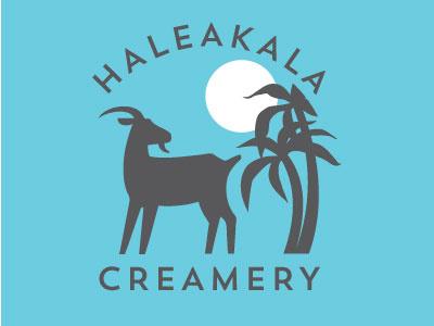 Haleakala creamery Logo concept tropical goats creamery palm tree sun volcano hawaii goat