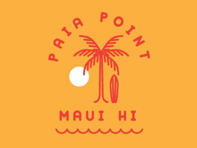 Paia Point Logo tropics ocean water waves surfing board palm tree sunset sun maui hawaii paia