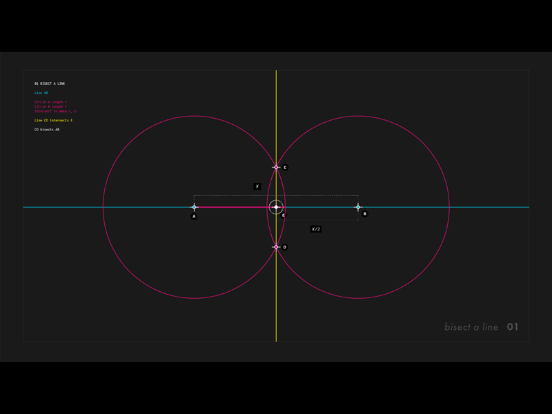 Circle and Line : 01 - Bisect a line motion design