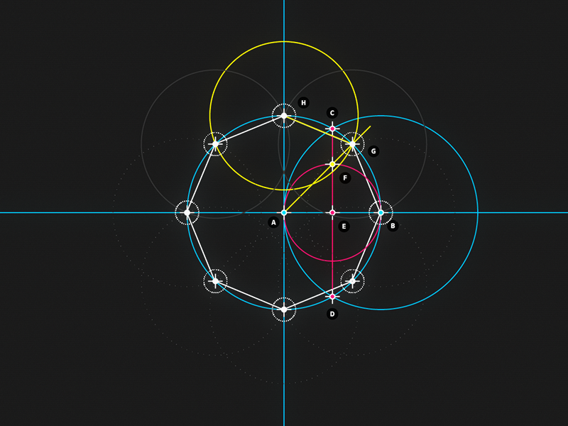  Circle and Line : 08 - Octagon motion design