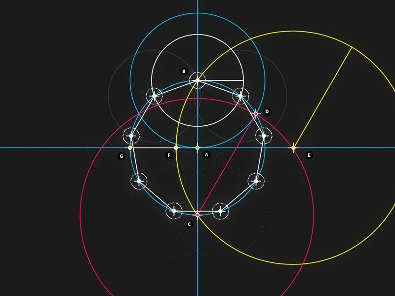 ​ Circle and Line : 09 -​ Nonagon motion design