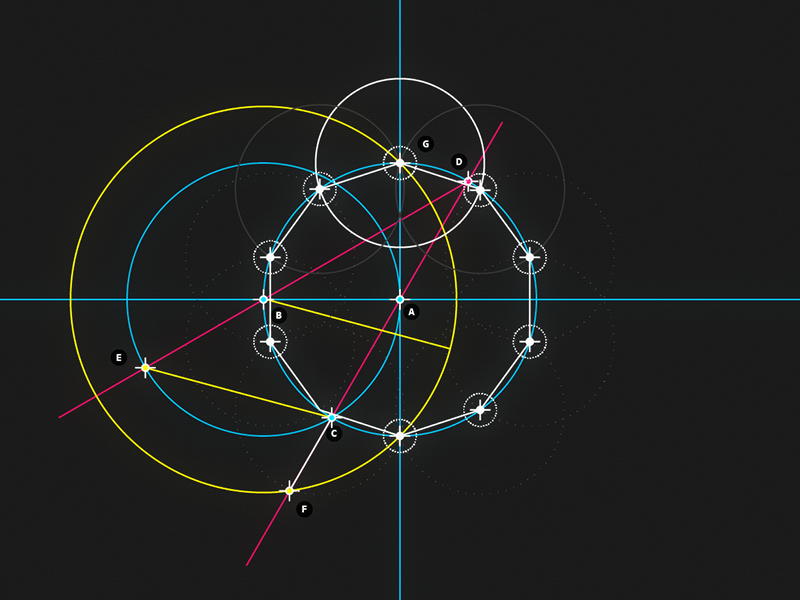  Circle and Line : 10 - Decagon motion design