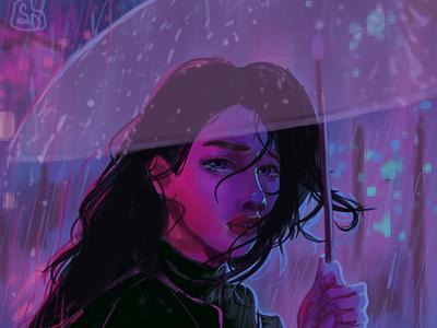 A rainy night digitalart rain purple sadafdraws design aesthetic pixel clipstudiopaint illustration portrait