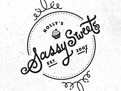 Sassy Sweets #2 BW octagon hand-lettered hand-lettering lettering texture cupcake cakes bakery stamp