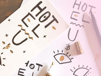 Hotel U & I black-and-gold gold sharpie tombow eye letters handletter typography