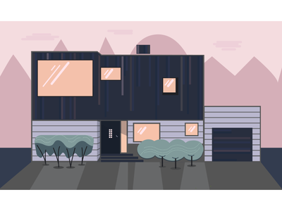 Cutehouse Uglyplants after-effects aftereffects illustration peach-windows pink-trees modern-house modern house
