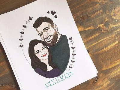 B & K digital-drawing print love portrait couple illustration