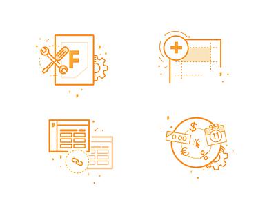 Tutorial Icons settings linked data line-art monochromatic icon