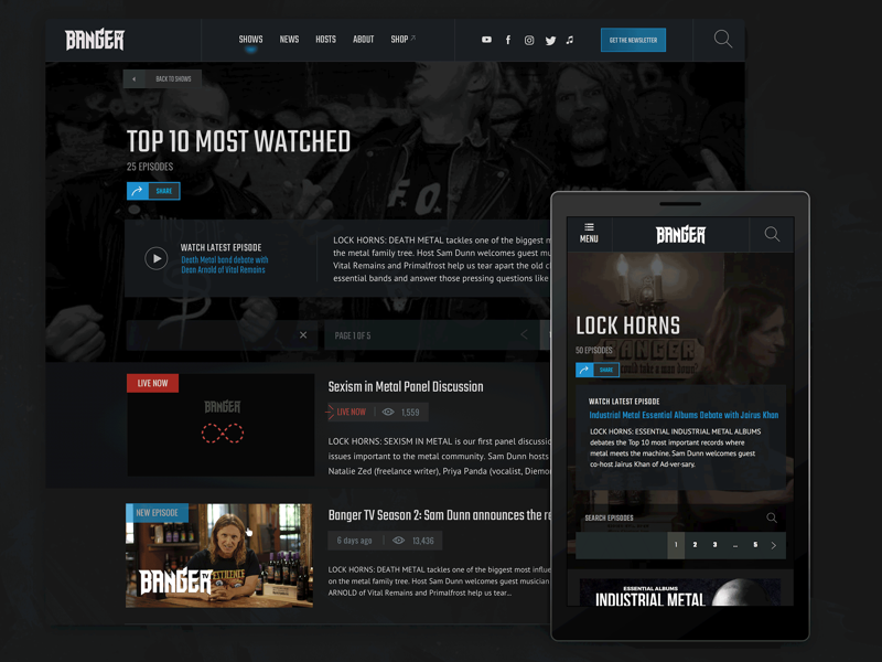 Banger TV UI Interior interior-page website interface responsive video metal dark-ui ui ux