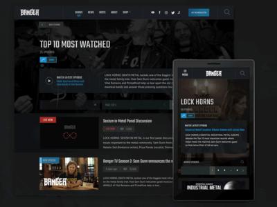 Banger TV UI Interior interior-page website interface responsive video metal dark-ui ui ux
