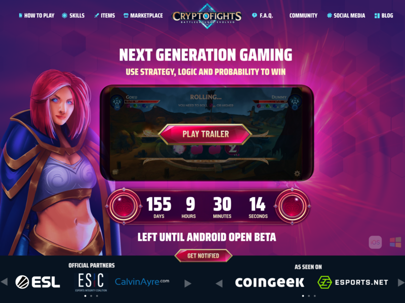 CryptoFights.io Homepage Redesign blockchain game blockchain overwatch warcraft league of legends valorant fortnite esports page website site mobile mmo rpg game landing homepage cryptocurrency crypto cryptofights