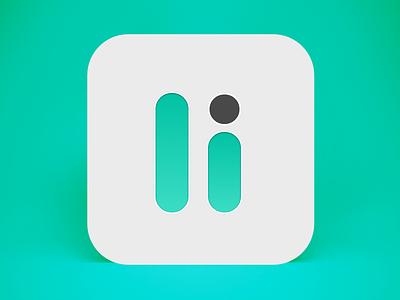 Li App Icon video l white black dot pause player teal icon app
