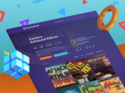 BountyMode - Video Game Web Store icons achievements sale concept branding ui design store steam game indie bounty chrono