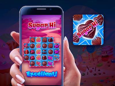 Sugar Hi icon ios puzzle crush candy sweets match 3 design art game mobile