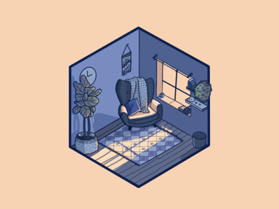 Happy Place - Isometric Room Illustration