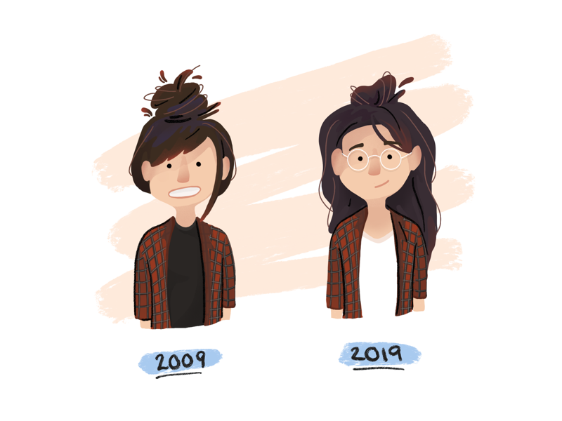 My take on the 10 year challenge glasses facebook ten year challenge plaid girl portrait digital painting procreate illustration