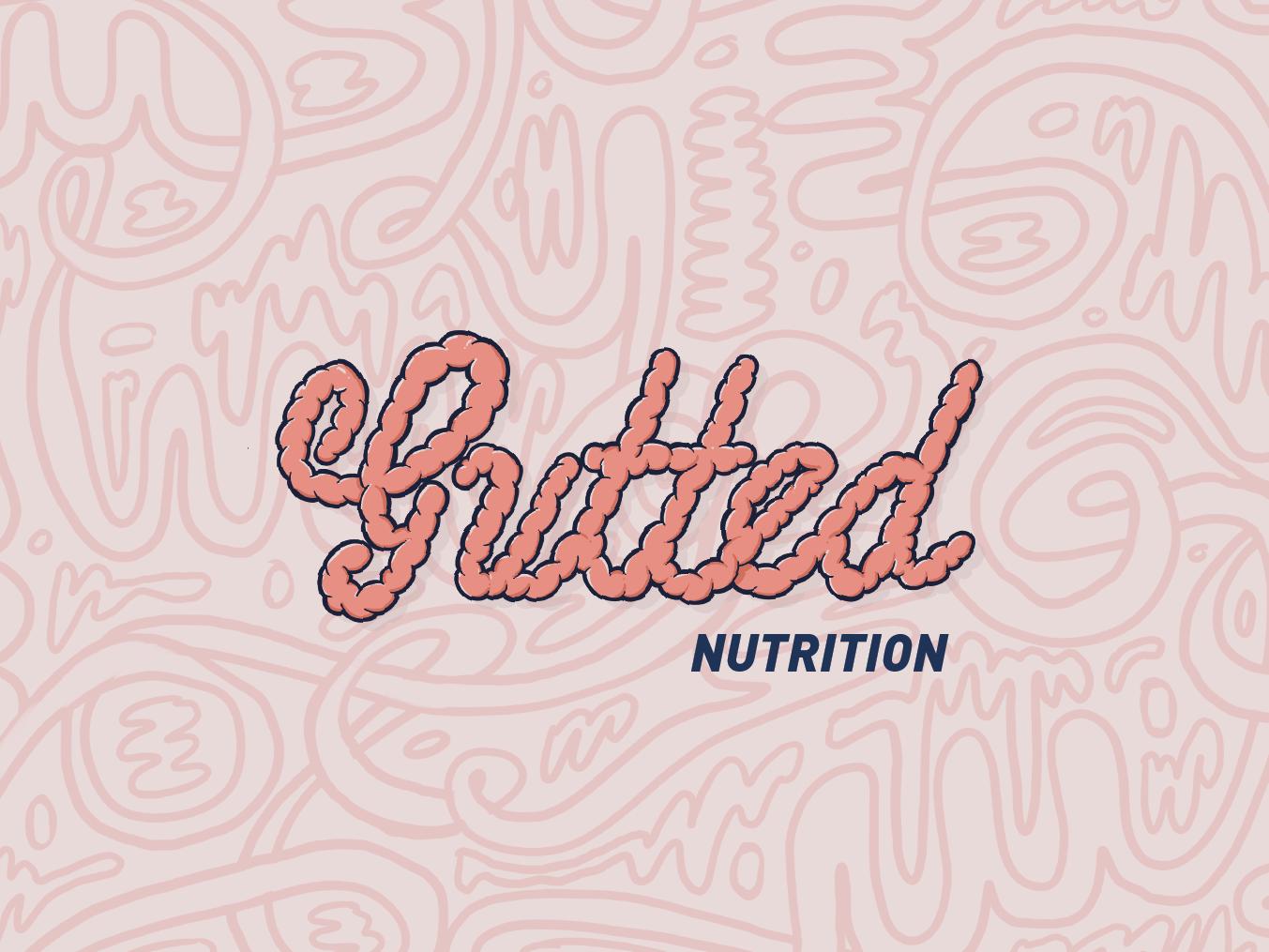 Gutted Nutrition Logo gutted typography lettering cursive brand illustration graffiti nutritionist logo nutrition intestines guts logo procreate app