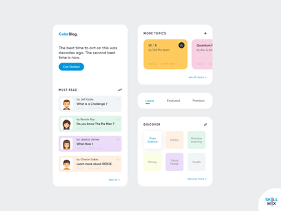 ColorBlog - The Blog App light blog post post feed newsfeed colors adobe xd explore discover dribbble clean ui pastel colors minimal mobile app design mobile ui ui design skill mix blog app design uiux