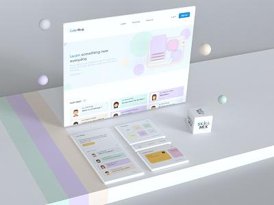 ColorBlog - Web & App cinema4d newsfeed news blog feed 3d visual dribbble adobe xd skill mix minimal home page read color scheme soft color clean design ui design app design website design 3d