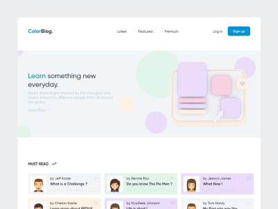 ColorBlog - Web color palette landing page homepage webdesign blog blocks topics share read 3d minimal dribbble feed newsfeed skill mix uxdesign uidesign uiux adobe xd