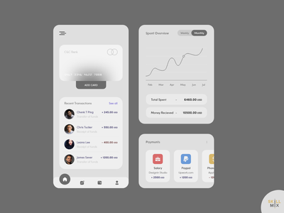 C&C Payments App graphical overview payments hero image uidesign home page ui design transfer money credit dark theme dark ui app design credit card adobe xd skill mix glassmorphism card payment method payments app