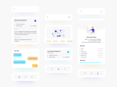 Freelance | Theme `Border Line` bright colors lightui home page profile page hero area uxdesign uidesign dribbble chat freelance listing parts ui app design skill mix adobe xd design