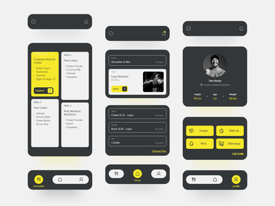 The Fitness App black meal planner profile presentation tracker workout tracker workout app workout health app fitness app dark theme uxdesign home page dark ui uidesign adobe xd app design skill mix