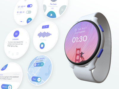 Trendy Watch clay mockup voice assistant alarm whatsapp map watchui uidesign smartwatch 3d mockup uxdesign dribbble ui skill mix design 3d modeling 3d art 3d watch adobe xd