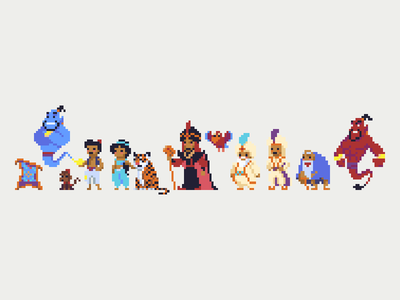 Aladdin Cast Pixel Art pixel pixel art illustration aladdin disney characters