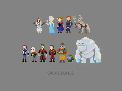 Frozen Pixel Art pixel characters disney frozen illustration pixel art