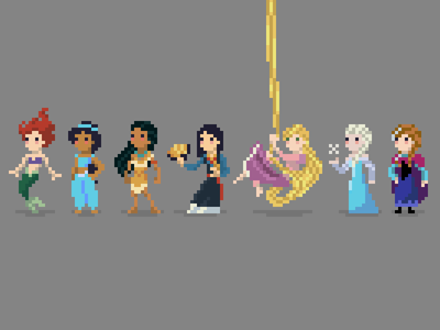 Princess Pixels illustration princess characters disney pixel pixelart