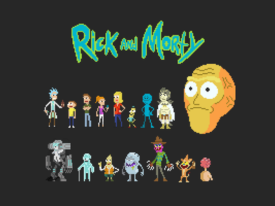 Rick And Morty Pixels adultswim illustration pixels pixelart rickandmorty
