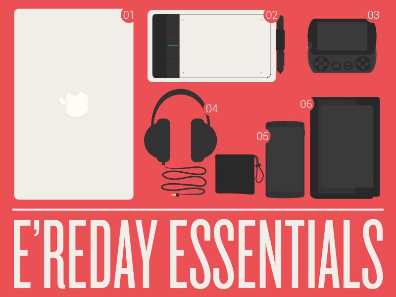 E'reday Essentials essentials macbook nexus 5 nexus 7 psp go headphones illustration flat