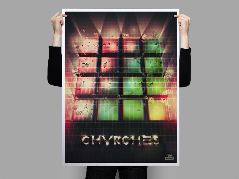 CHVRCHES 80's Poster chvrches poster neon colors 80s texture chrome noise