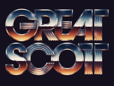 Great Scott! lettering typography typeface type 1980s 80s style 1985 80s chrome