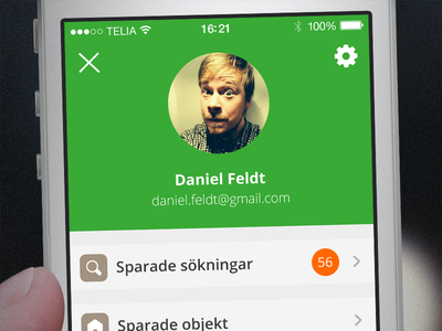 User screen on Hemnet iOS