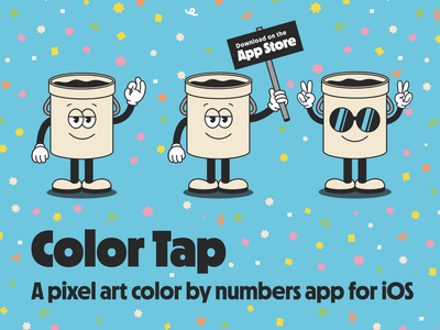 Color Tap Pixels ui ux iphone app ipad app ios app iphone ipad colour by numbers color by numbers mascot illustration ios