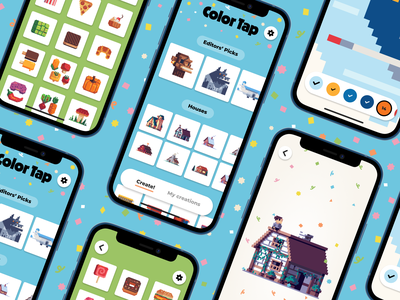Color Tap Pixels - iOS app color by numbers kids app ipad app iphone app ios apps ui design uiux ui ios app ios