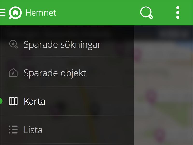 Hemnet for Android - Slide menu android app hemnet signed in user menu property portal nexus nexus 5