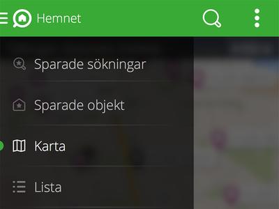 Hemnet for Android - Slide menu