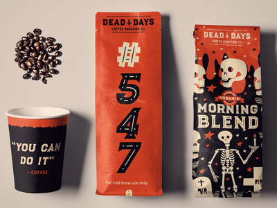 Dead Days - Morning Blend coffee mug coffee packaging black gold coffee branding packaging branding espresso coffee