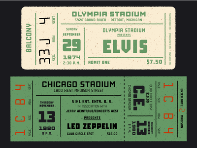 Vintage concert tickets with Manufaktur fontself fonts type type design typedesign typography concert tickets concert vintage design